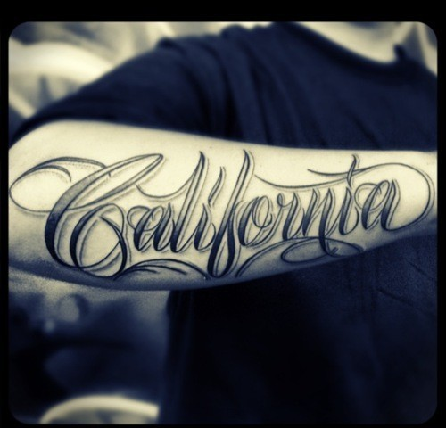 California Lettering Tattoo On Arm