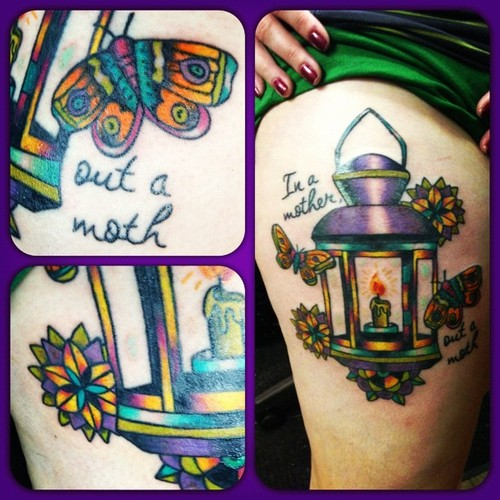 Candle Lamp And Moth Colored Ink Tattoo Design