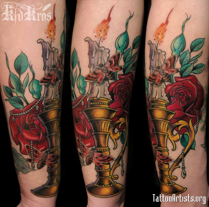 Candle Lamp Red Roses n Bee Tattoo Design