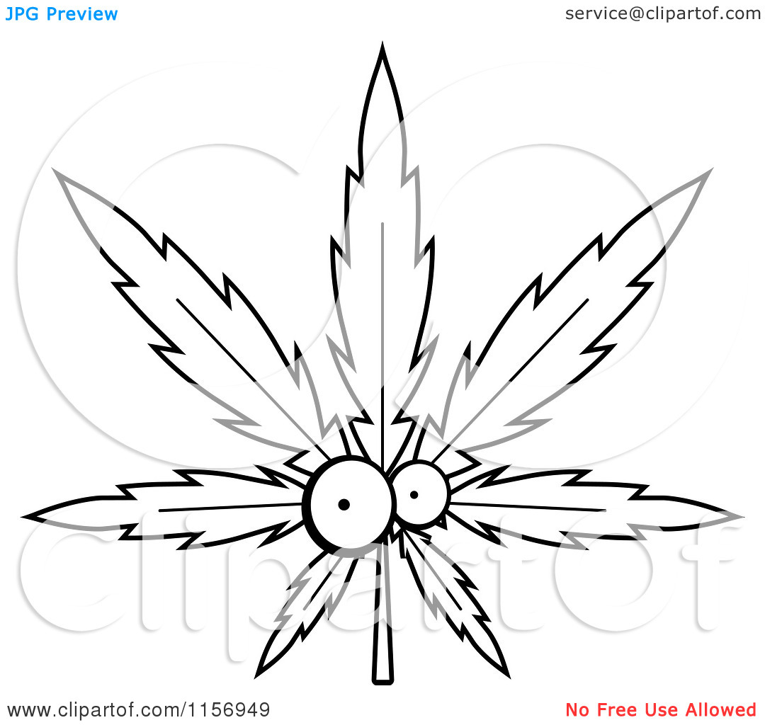 Cartoon Clipart Of A Black And White Cannabis Pot Leaf Tattoo Design