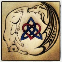 Cat And Dragon Celtic Love Trinity Knot Tattoo Design