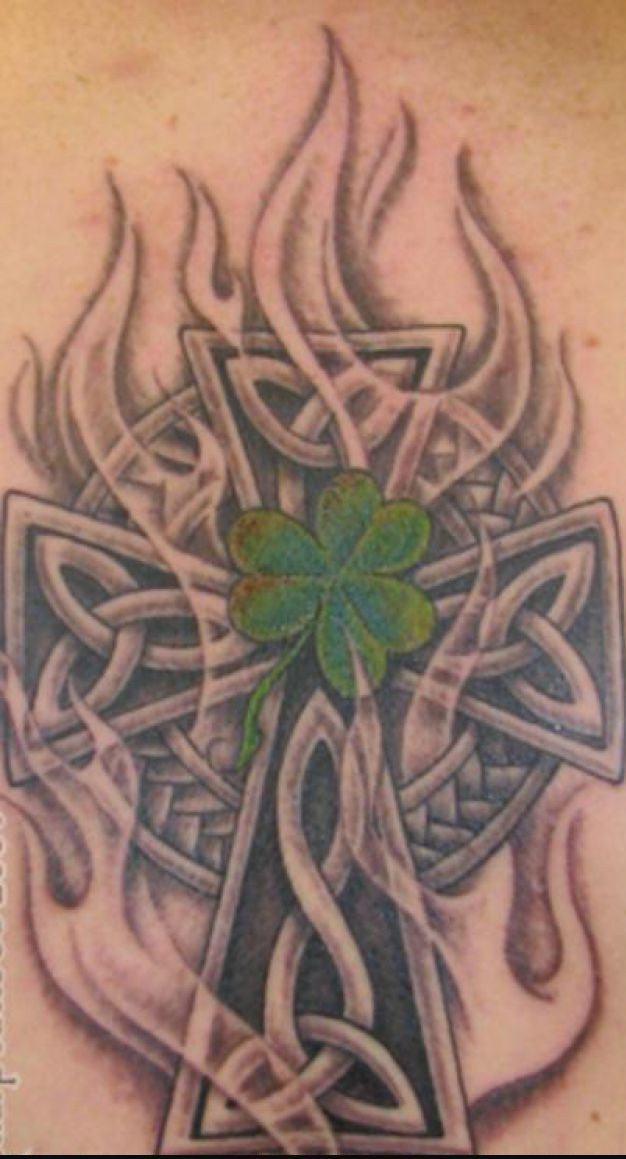 Celtic Cross Shamrock Knot Tattoo Design