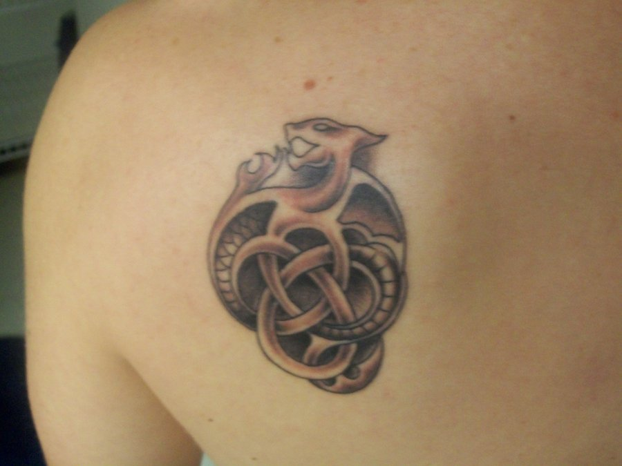 Celtic Dragon Knot Tattoo On Back