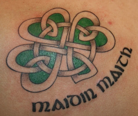 Celtic Four Leaf Clover Tattoo Design