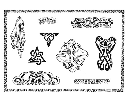 Celtic Irish Western Knot Outline Fantasy Animal Band Chain Triangle Tattoo Sheet