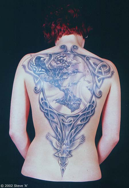 Celtic Knot Tree Crow And Dove Tattoo On Back