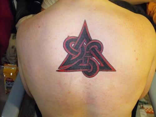Celtic Triangle Knot Tattoo On Back