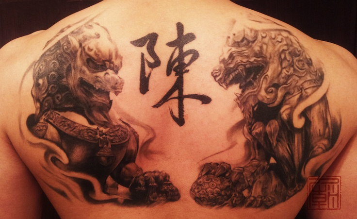 Chinese Guardian Lions Get A Modern Art Style In This Artistic Tattoo