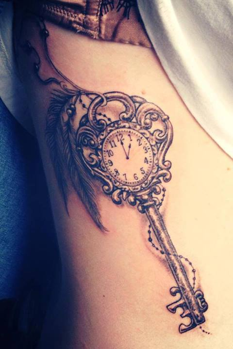 Clock Key Tattoo Design With Feathers