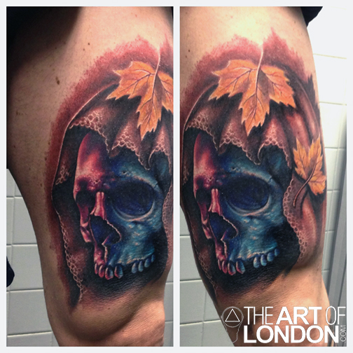 Color Realism Human Skull Portrait Veil Maple Leaves Tattoo Design