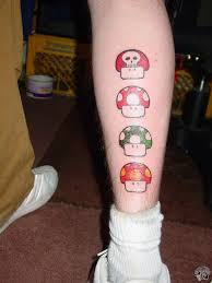 Colored Mario Mushroom Leg Tattoo Designs