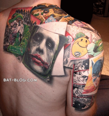 Colorful Batman Joker Tattoo For Men