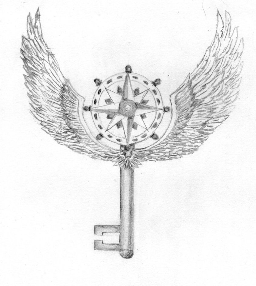 Compass Key With Wings Tattoo Design