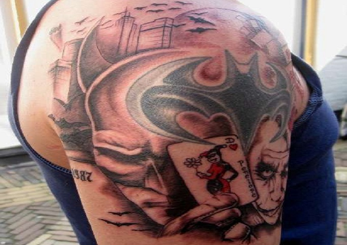 Cool Joker Tattoo On Shoulder For Men