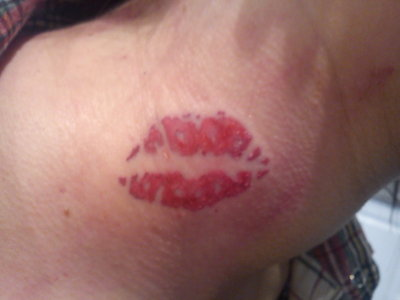 Lip Tattoo On Neck