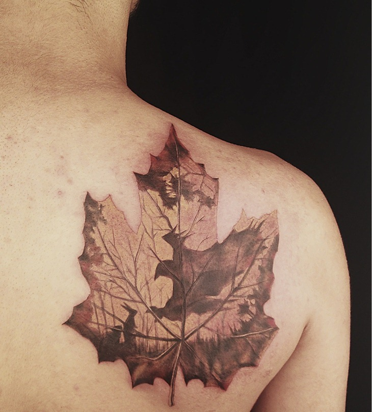 Cool Maple Leaf Tattoo On Back Shoulder