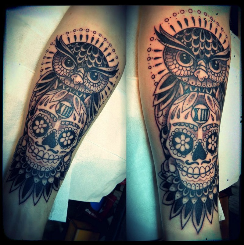Cool Owl And Skull Leg Tattoo Designs For Men