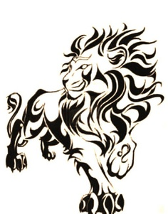 Cool Tribal Lion Tattoo Sample