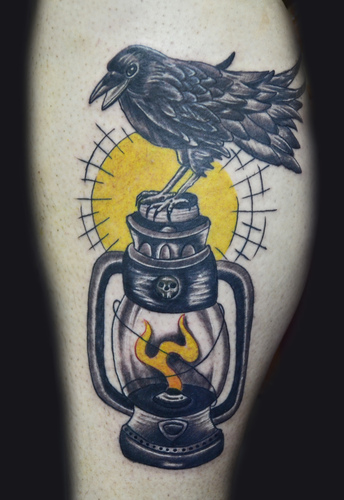 Crow On Lamp Tattoo Design