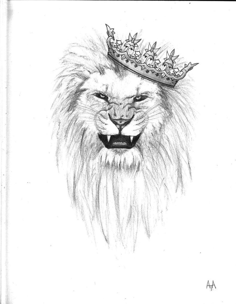 Crowned Lion Tattoo Drawing