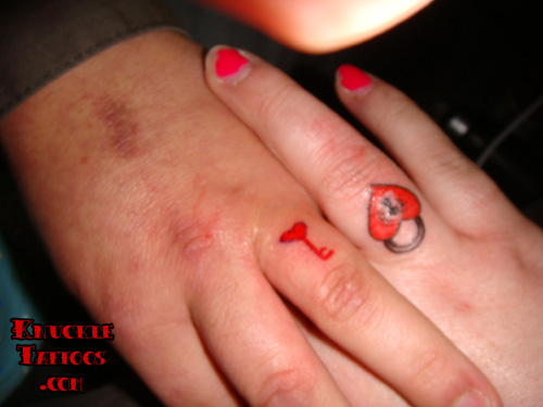 Cute Lock n Key Tattoo On Ring Fingers