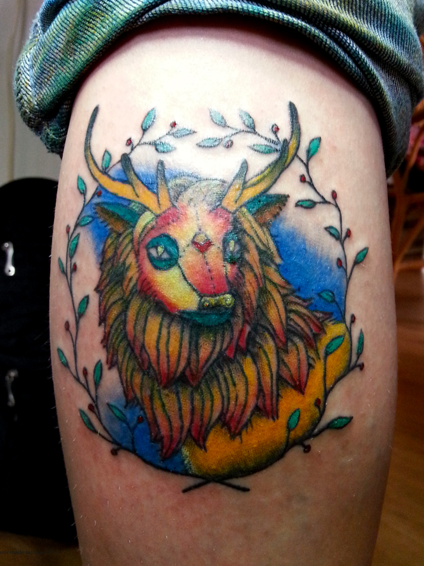 Deer Lion Tattoo Design