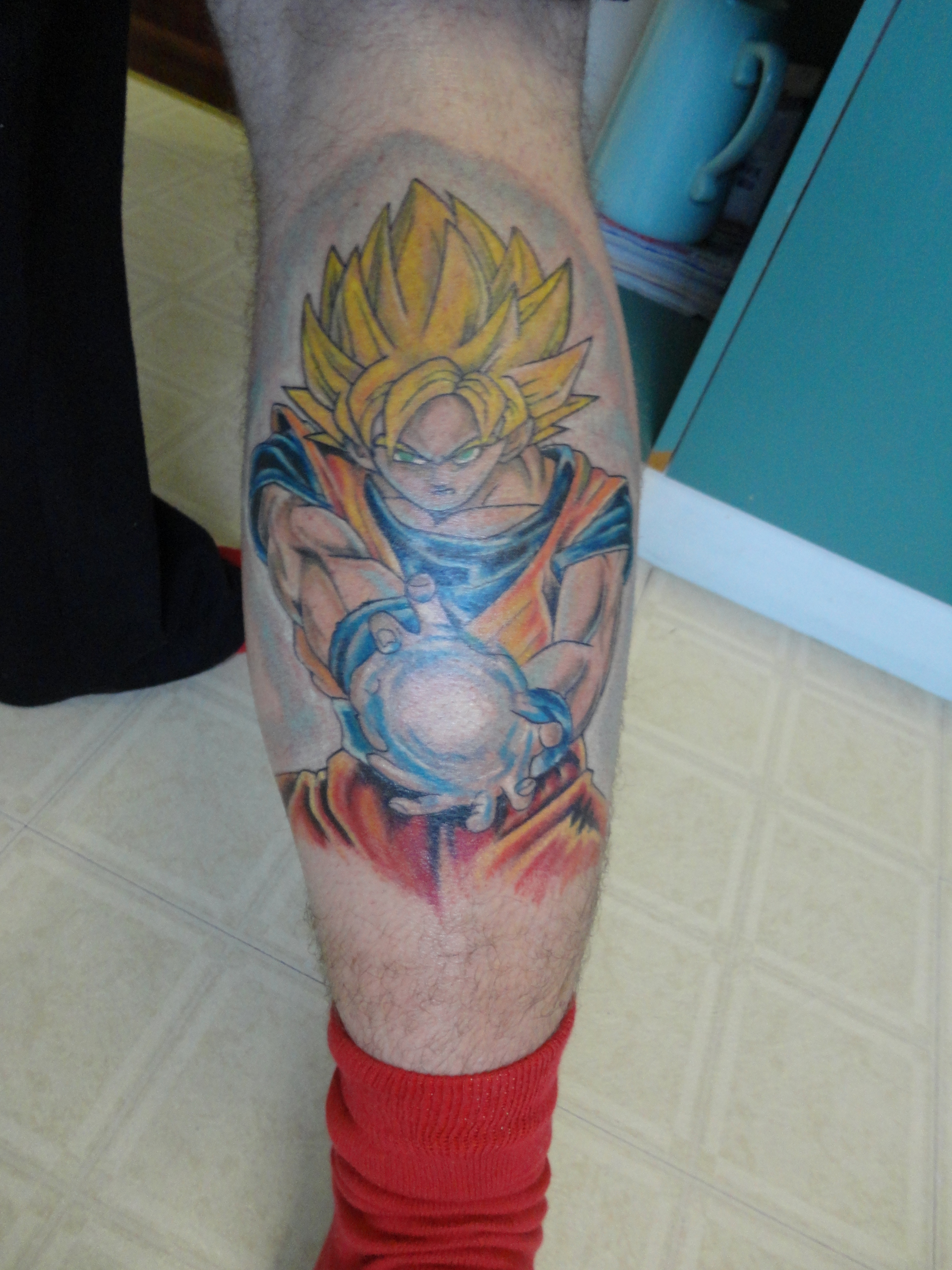 Dragon Ball Z Leg Tattoo Design