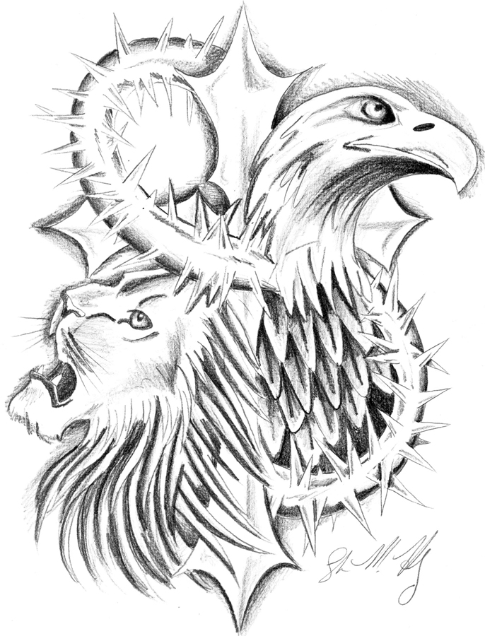 Eagle And Lion Tattoo Design