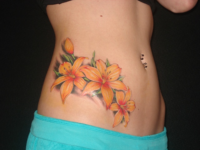 Elegant Lily Flowers Tattoo On Side For Girls