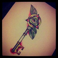 Eye Key Tattoo Design