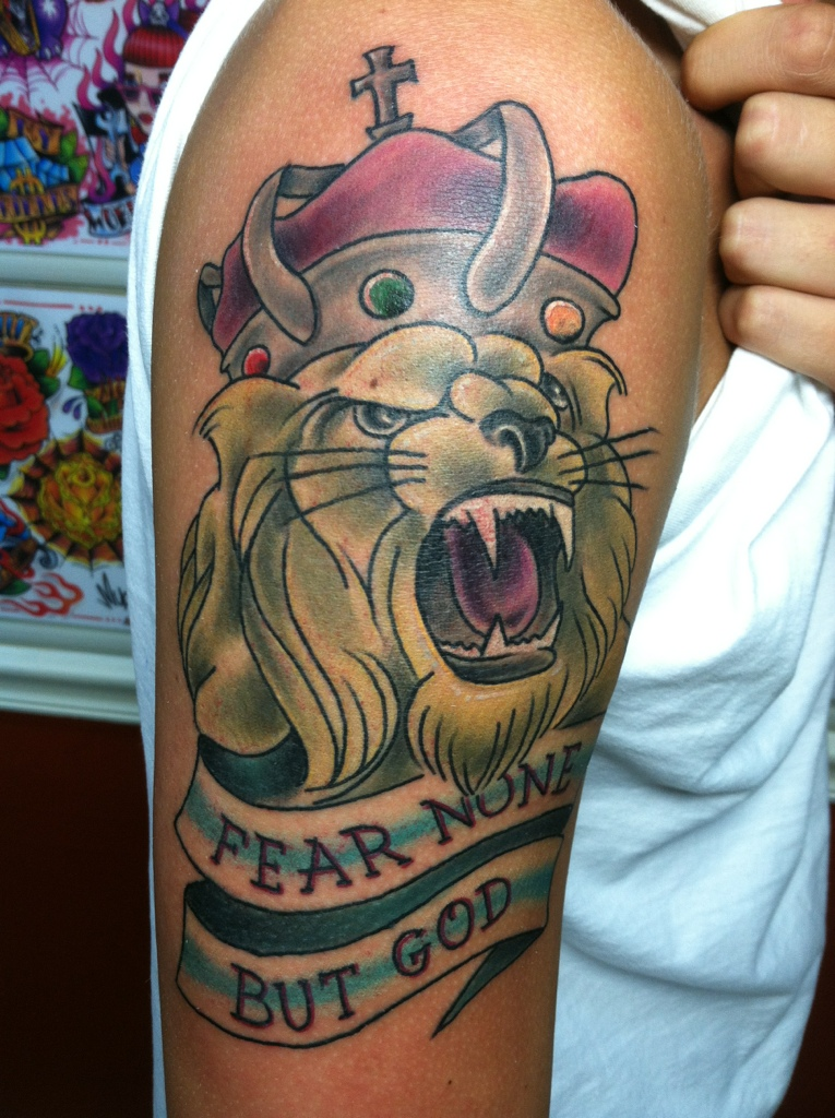 Fear None But God Lion Tattoo On Arm