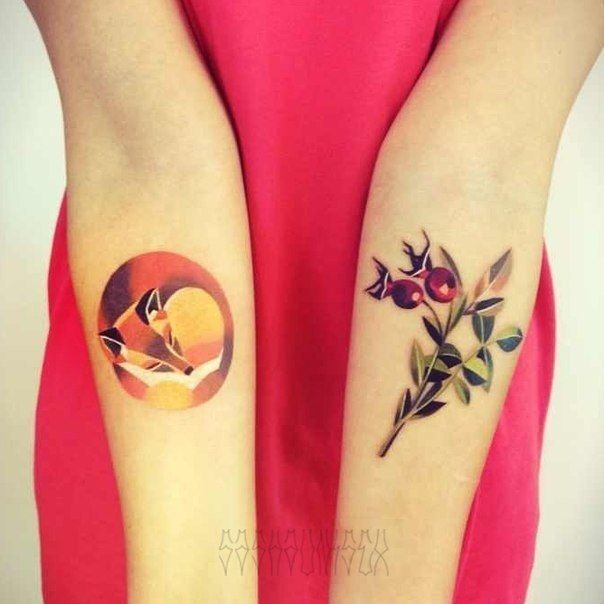 Fobackground And Berry Leaf Tattoo Designs