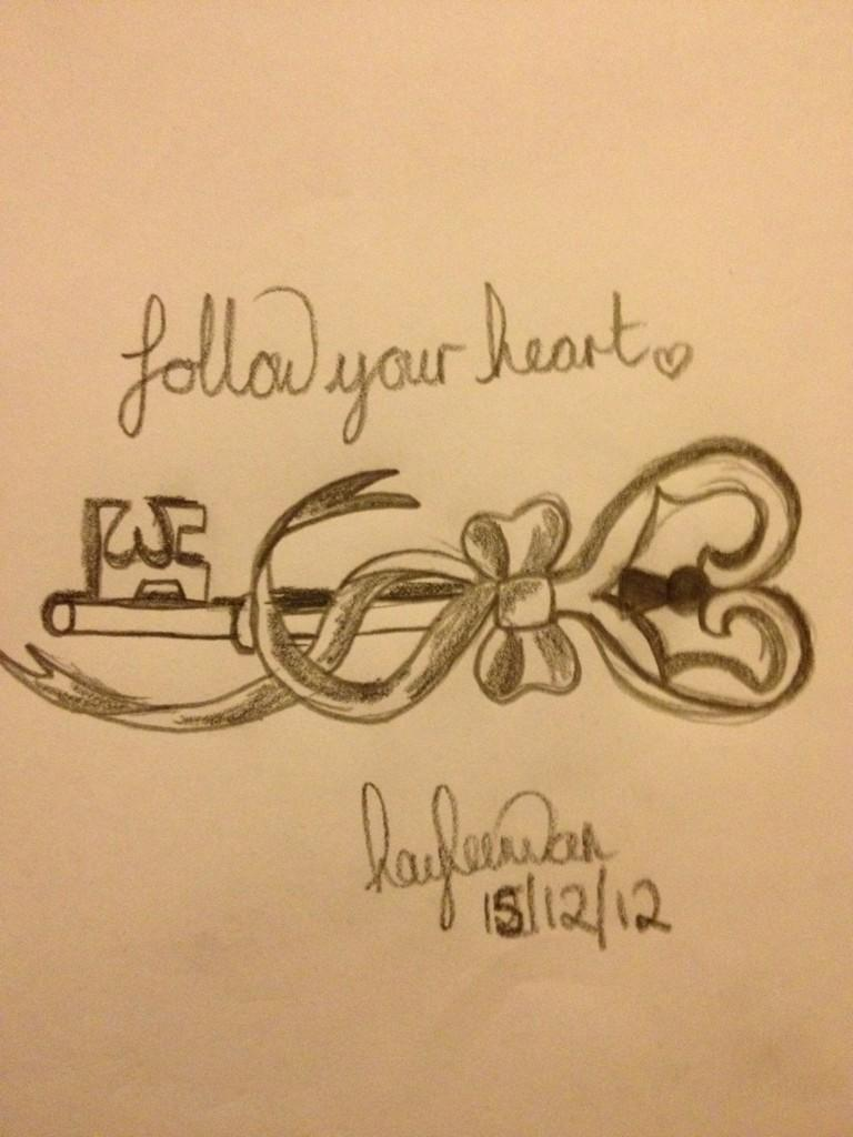 Follow Your Heart Bow Key Tattoo Design