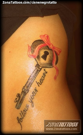 Follow Your Heart Key Tattoo For Girls