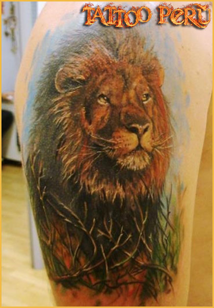 Forest Lion Tattoo On Upper Arm