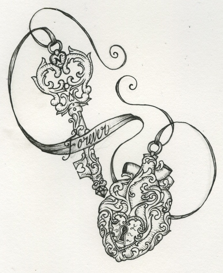 Forever Key n Heart Lock Tattoo Design