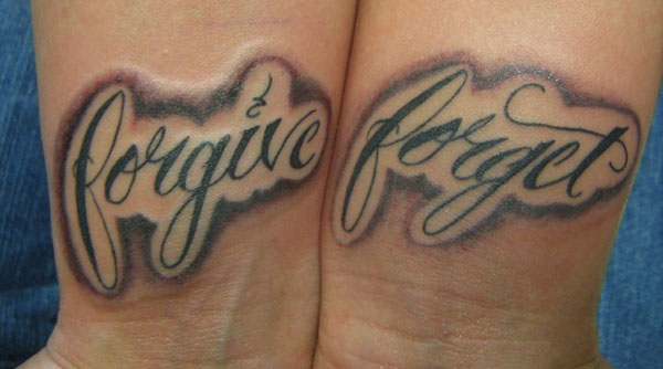Forgive Forget Lettering Tattoo Designs On Wrist