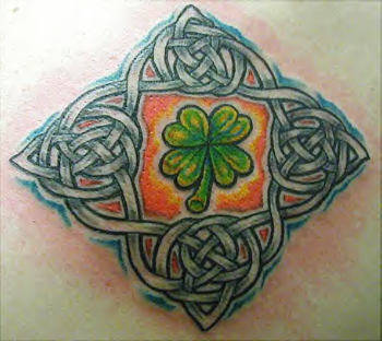 Four Leaf Clover And Celtic Knots Tattoo Design