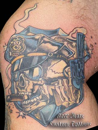 France Skull With Cigar Tattoo On Knee