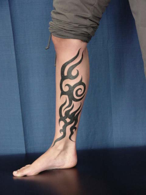 Tribal Leg Tattoo Outline