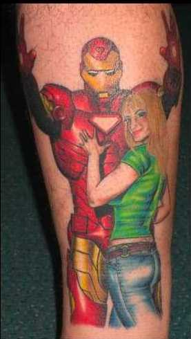 Funny Ladies Iron Man Leg Tattoo Design