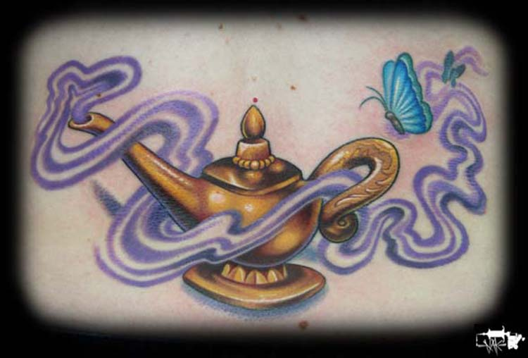 Genie Lamp n Butterfly Tattoo Design
