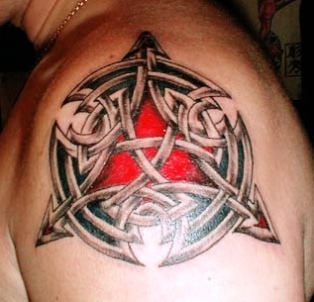 Glowing Celtic Knot Tattoo On Shoulder