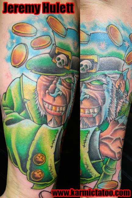Gold Coins And Irish Leprechaun Tattoo On Sleeve