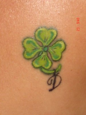 Green Clover Leaf Tattoo