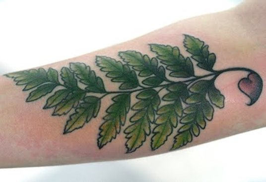 Green Leaves Fern Tattoo Design
