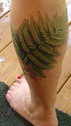 Green Leaves Fern Tattoo On Leg