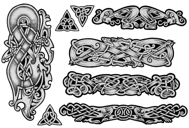 Grey Ink Celtic Knot Tattoo Set