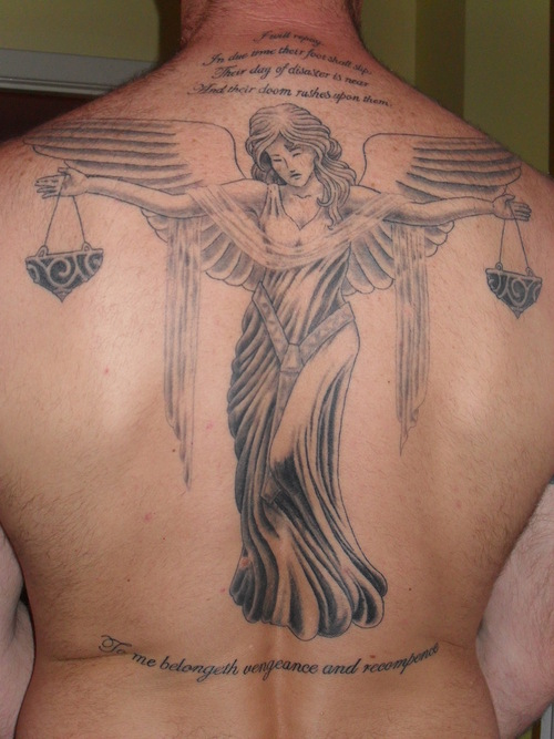 Grey Ink Lady Justice Tattoo On Back Of Body