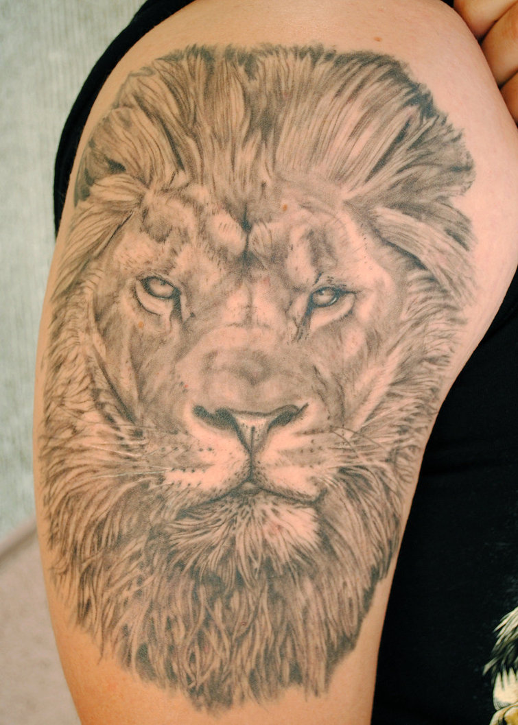Grey Ink Lion Head Tattoo On Shoulder